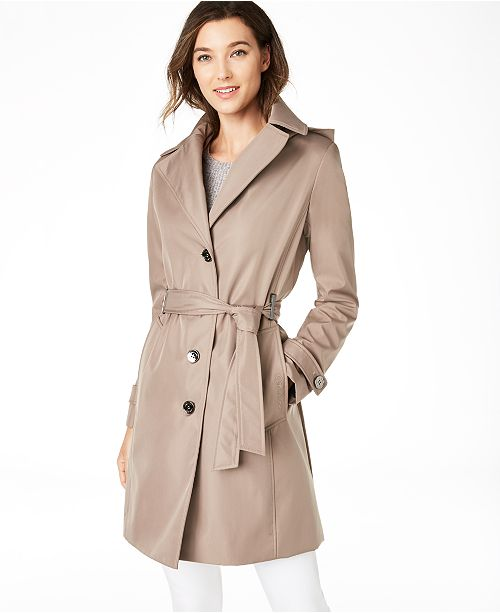 f4066a5dd2b Calvin Klein Belted Water Resistant Trench Coat & Reviews - Coats ...