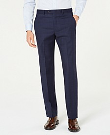 Men's Classic-Fit UltraFlex Stretch Blue Windowpane Plaid Suit Pants