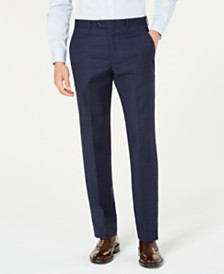 Lauren Ralph Lauren Men's Classic-Fit UltraFlex Stretch Blue Windowpane Plaid Suit Pants