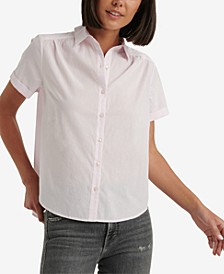 Ruched Button-Down Cotton Shirt