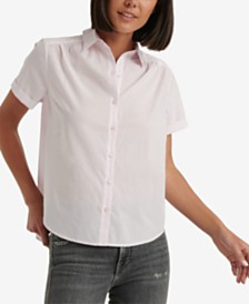 Lucky Brand Ruched Button-Down Cotton Shirt