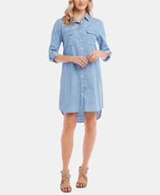 Karen Kane Striped Cotton Chambray Shirtdress