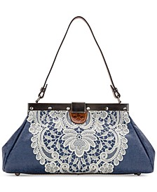 Ferrara Denim Crochet Satchel