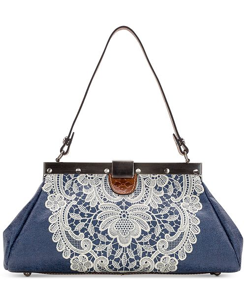 Patricia Nash Ferrara Denim Crochet Satchel