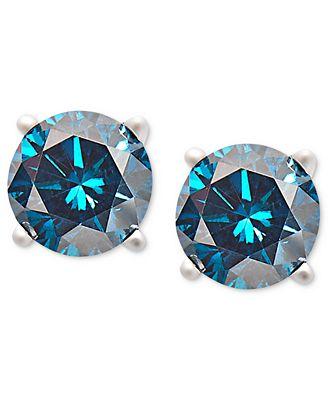 14k White Gold Earrings Treated Blue Diamond Stud 3 4 Ct
