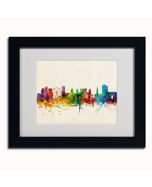 "Trademark Global Michael Tompsett 'Nottingham England Skyline' Matted Framed Art - 14"" x 11"""