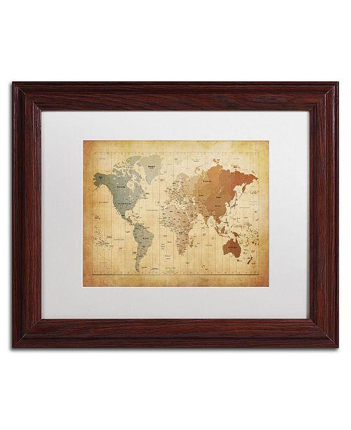 """Trademark Global Michael Tompsett 'Time Zones Map of the World' Matted Framed Art - 14"""" x 11"""""""