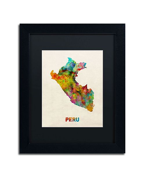 """Trademark Global Michael Tompsett 'Peru Watercolor Map' Matted Framed Art - 14"""" x 11"""""""
