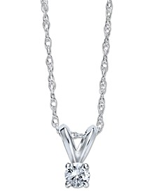 10k White Gold Necklace, Round-Cut Diamond Accent Pendant