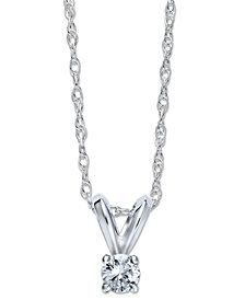 10k White Gold Necklace, Round-Cut Diamond Accent Pendant