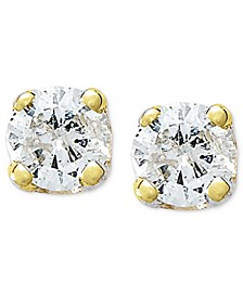 Round-Cut Diamond Accent Stud Earrings in 10k Gold