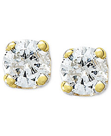 10k Gold Earrings, Round-Cut Diamond Accent Stud Earrings