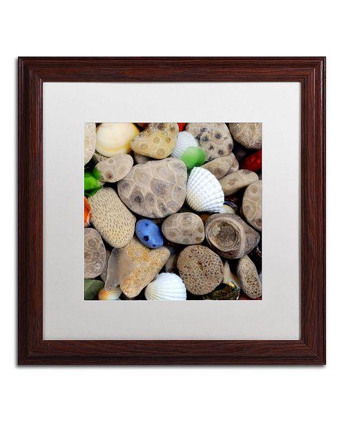 """Trademark Global Michelle Calkins 'PetoskeyStones V' Matted Framed Art - 16"""" x 16"""""""
