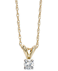 Round-Cut Diamond Pendant Necklace in 10k Yellow or White Gold (1/10 ct. t.w.)