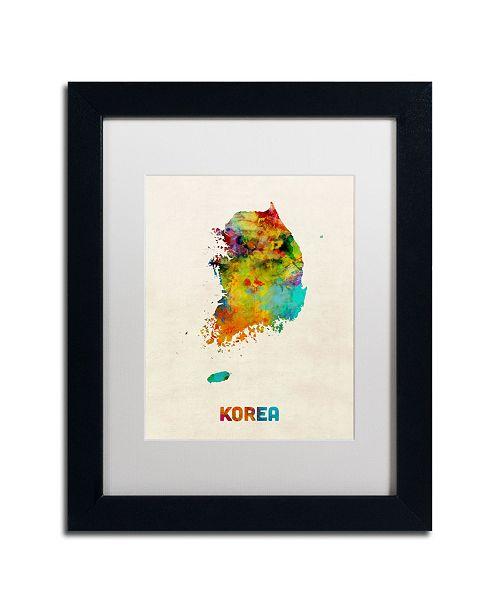 "Trademark Global Michael Tompsett 'Korea Watercolor Map' Matted Framed Art - 11"" x 14"""