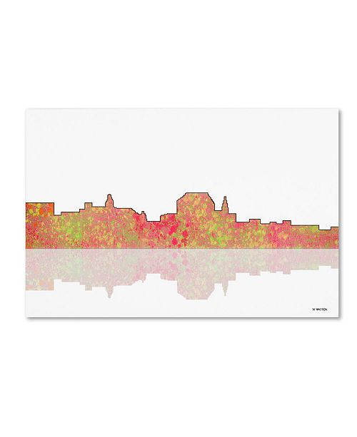 "Trademark Global Marlene Watson 'Augusta Maine Skyline III' Canvas Art - 12"" x 19"""