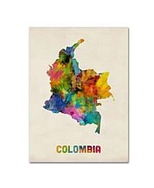 "Michael Tompsett 'Colombia Watercolor Map' Canvas Art - 14"" x 19"""
