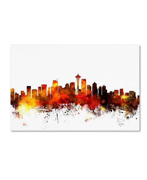 "Trademark Global Michael Tompsett 'Seattle Washington Skyline III' Canvas Art - 12"" x 19"""