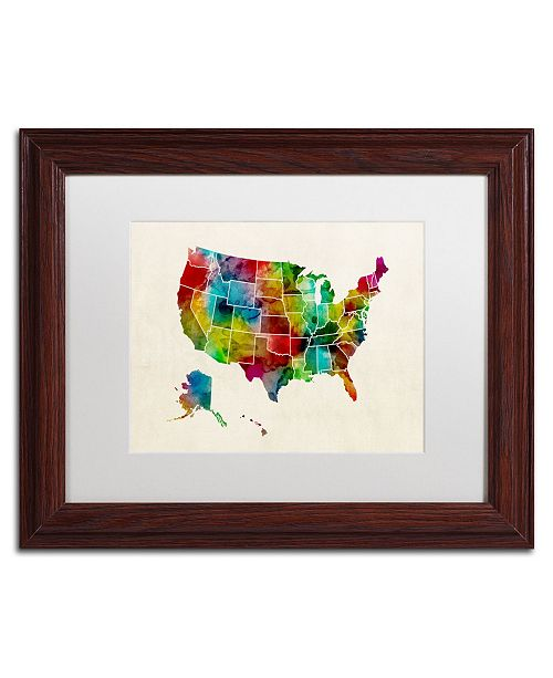 "Trademark Global Michael Tompsett 'United States Watercolor Map 2' Matted Framed Art - 11"" x 14"""