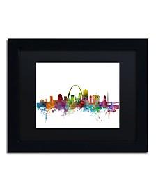 "Michael Tompsett 'St. Louis Missouri Skyline' Matted Framed Art - 11"" x 14"""