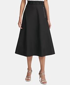 DKNY Zipper-Pocket Midi Skirt