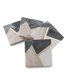 Set of 4 Geometric Color Block Marble Coasters