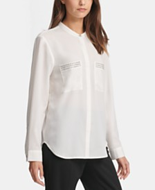 DKNY Studded Mock Neck Shirt