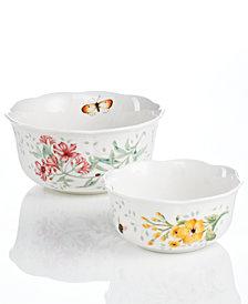 Lenox Dinnerware, Set of 2 Butterfly Meadow Nesting Bowls
