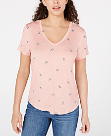 Self Esteem Juniors' V-Neck Coffee-Print T-Shirt