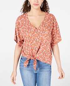 Hippie Rose Juniors' Printed Tie-Waist Blouse