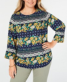 Plus Size Mixed-Print Top, Created for Macy's