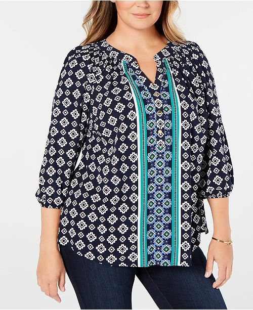 Charter Club Plus Size Pleated Geo-Print Blouse, Created for Macy's