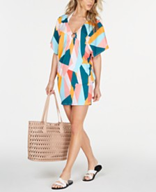 Bar III Pop Art Printed Ring Tunic Cover-Up, Created for Macy's