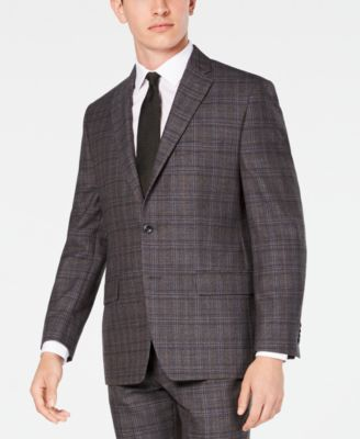 Men's Classic/Regular Fit Airsoft Stretch Brown/Blue Plaid Suit Jacket