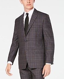 Michael Kors Men's Classic/Regular Fit Airsoft Stretch Brown/Blue Plaid Suit Jacket