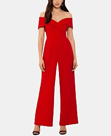 Xscape Off-The-Shoulder Crepe Jumpsuit