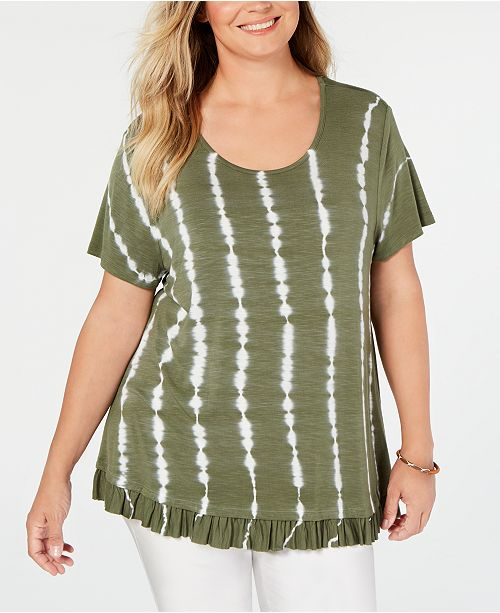 Style & Co Plus Size Tie-Dyed Ruffle-Hem Top, Created for Macy's