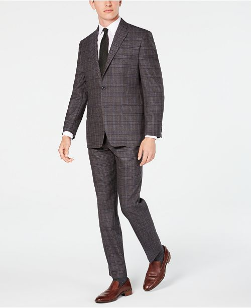 Michael Kors Men's Classic/Regular Fit Airsoft Stretch Brown/Blue Plaid Suit Separates