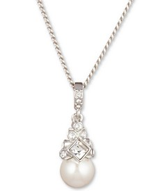 "16"" + 3"" Extender Silver-Tone Crystal and Glass Pearl Pendant Necklace"
