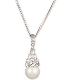 "Givenchy 16"" + 3"" Extender Silver-Tone Crystal and Glass Pearl Pendant Necklace"