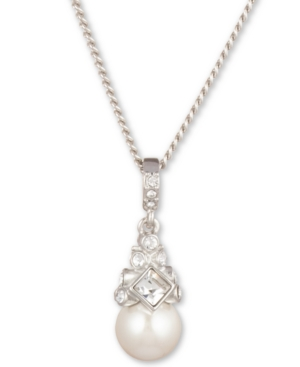 Givenchy-16-3-Extender-Silver-Tone-Crystal-and-Glass-Pearl-Pendant-Necklace