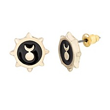 Women's Black Enamel Crescent Moon Sun Gold-Tone Stud Earrings