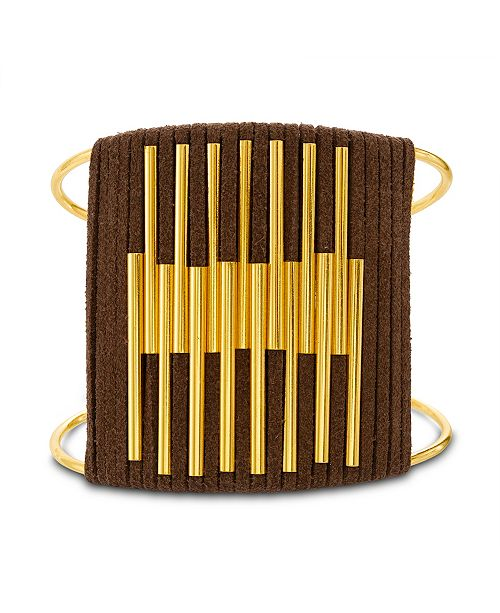 Steve Madden Women's Leather & Tube Wide Cuff Yellow Gold-Tone Bracelet