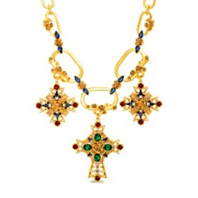 Steve Madden Women's Cross Charms Oval Necklace