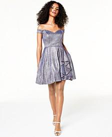 Juniors' Sweetheart Metallic Glitter Dress