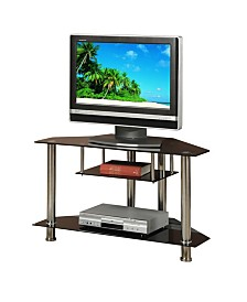 Metal And Glass TV Stand with Shelves