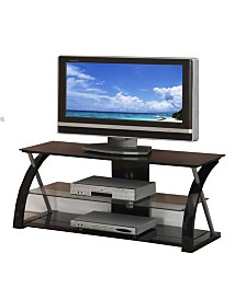 Metal TV Stand with 3 Glass Shelves