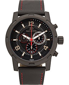 Baracchi Mens Chronograph Watch - Black Leather Strap, Black and Red Dial, 46mm