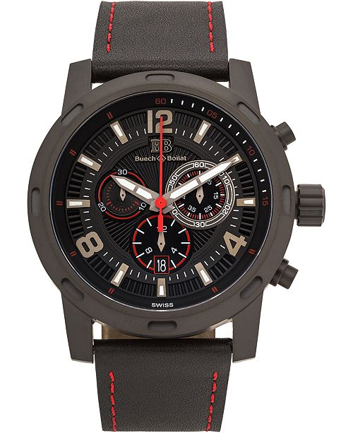 Buech & Boilat Baracchi Mens Chronograph Watch - Black Leather Strap, Black and Red Dial, 46mm