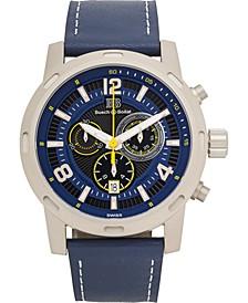Baracchi Men's Chronograph Watch Blue Leather Strap, White Stiching, Blue/Black Dial, Silver Case, 46mm